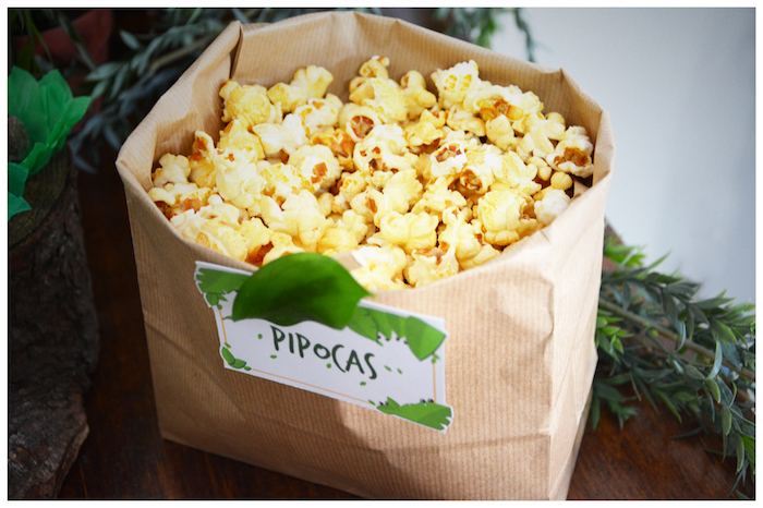 Popcorn in a brown paper bag from a Jungle Animal Birthday Party on Kara's Party Ideas | KarasPartyIdeas.com (13)