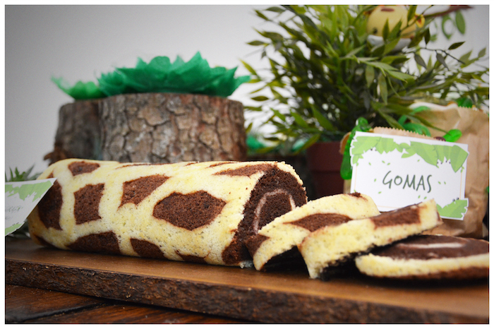 Giraffe print cake roll from a Jungle Animal Birthday Party on Kara's Party Ideas | KarasPartyIdeas.com (8)