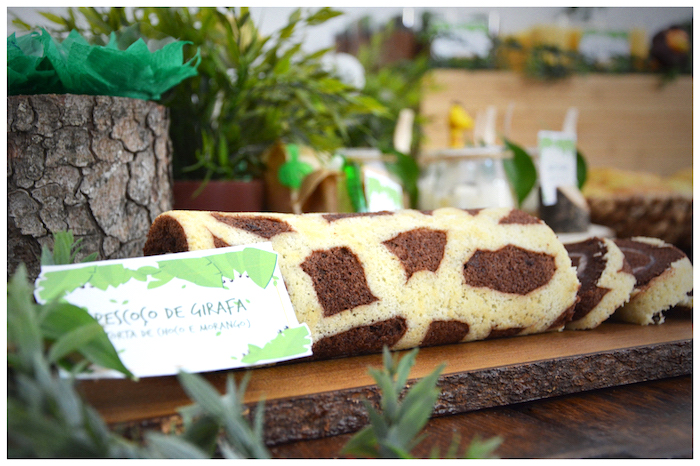 Swiss roll giraffe cake from a Jungle Animal Birthday Party on Kara's Party Ideas | KarasPartyIdeas.com (24)