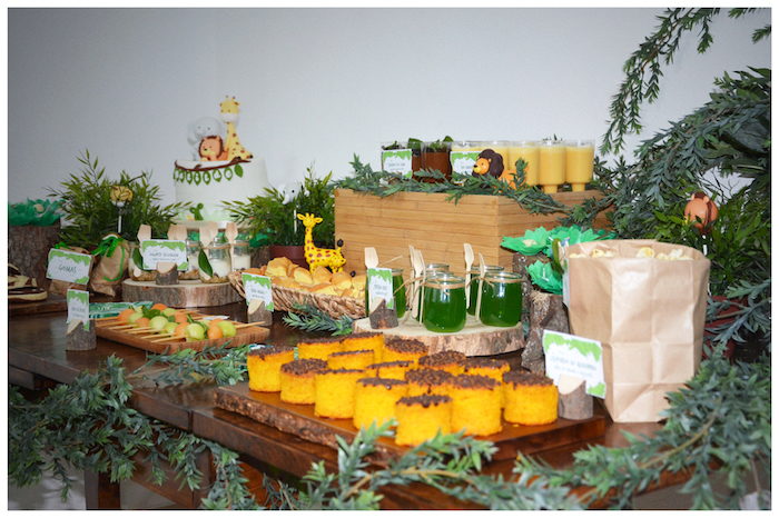 Dessert tablescape from a Jungle Animal Birthday Party on Kara's Party Ideas | KarasPartyIdeas.com (5)