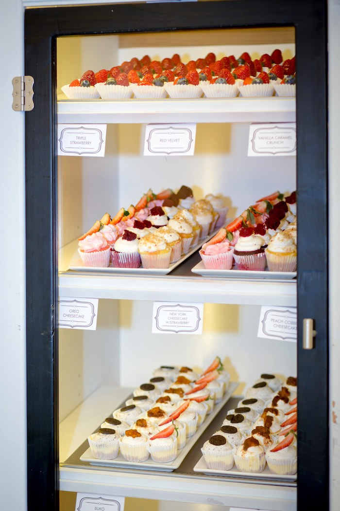 'Bakery' dessert shelves from a Little Town 1st Birthday Party on Kara's Party Ideas | KarasPartyIdeas.com (19)