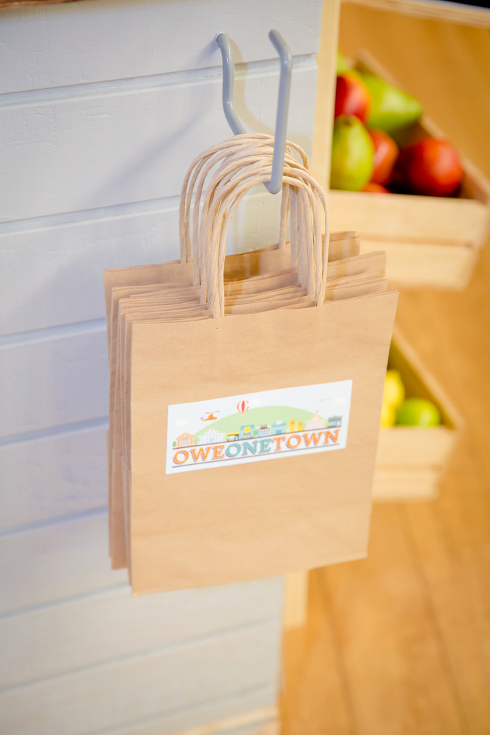 Brown favor bags from a Little Town 1st Birthday Party on Kara's Party Ideas | KarasPartyIdeas.com (6)