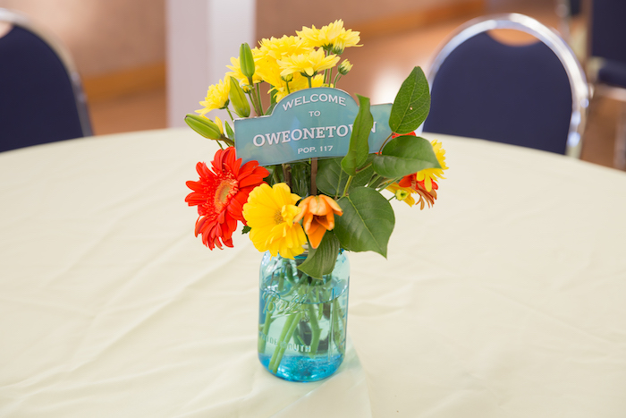 Guest table blooms from a Little Town 1st Birthday Party on Kara's Party Ideas | KarasPartyIdeas.com (24)