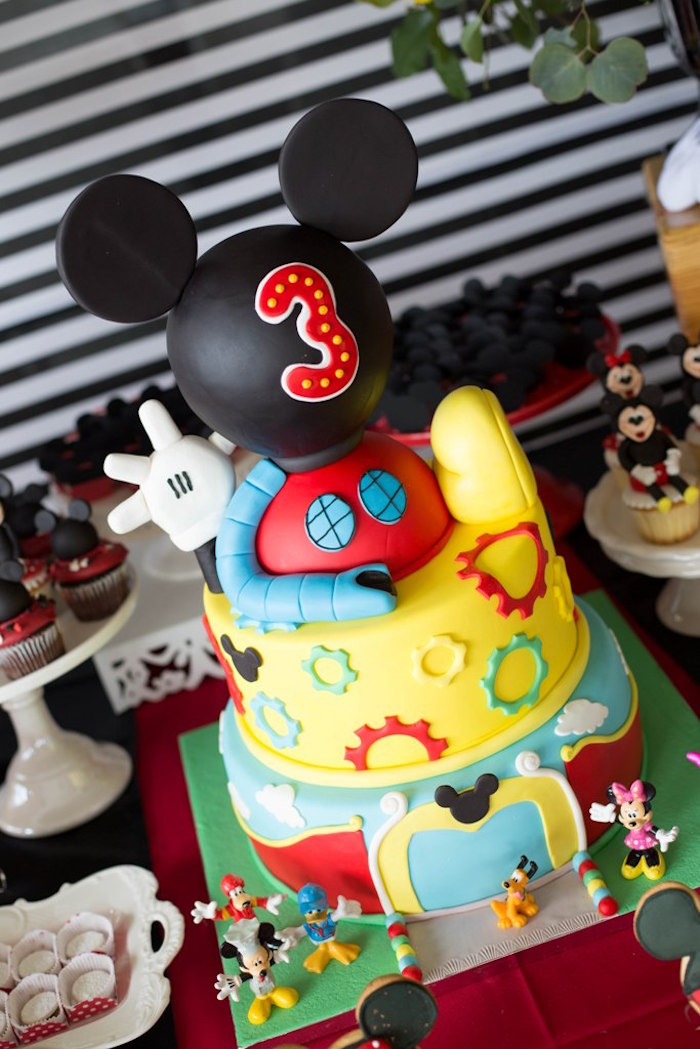 Mickey Mouse Clubhouse Cake from a Mickey Mouse Clubhouse Birthday Party on Kara's Party Ideas | KarasPartyIdeas.com (21)
