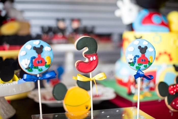 Mickey Mouse Clubhouse cookie pops from a Mickey Mouse Clubhouse Birthday Party on Kara's Party Ideas | KarasPartyIdeas.com (17)