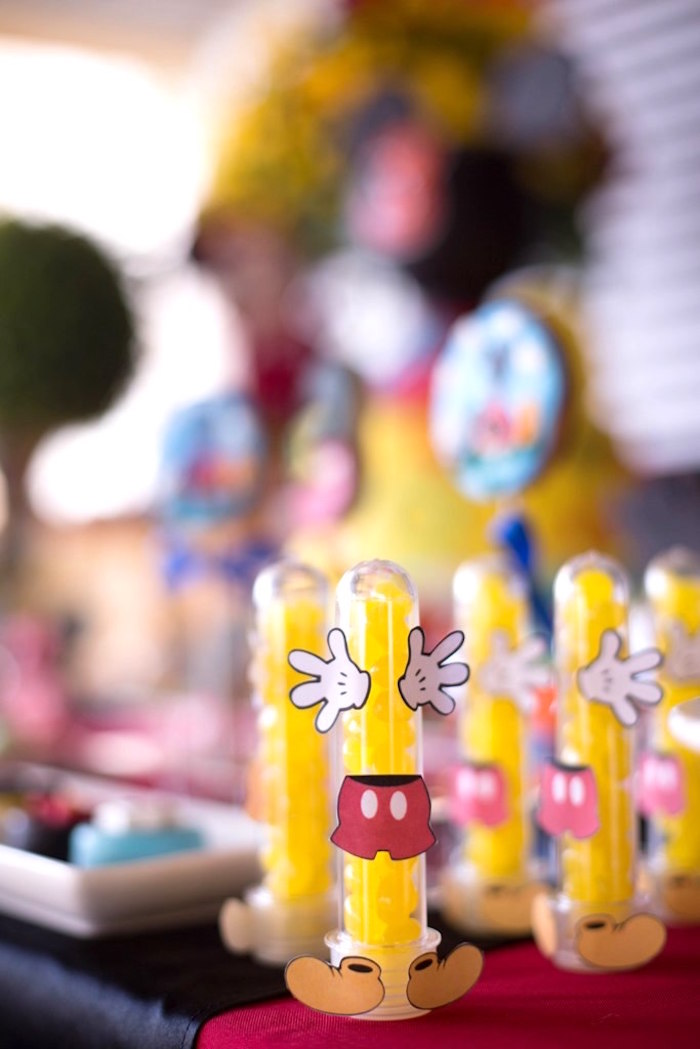 Mickey Mouse candy favor tubes from a Mickey Mouse Clubhouse Birthday Party on Kara's Party Ideas | KarasPartyIdeas.com (12)