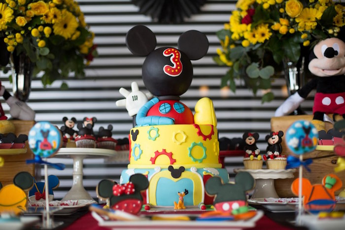 Mickey Mouse Clubhouse Cake from a Mickey Mouse Clubhouse Birthday Party on Kara's Party Ideas | KarasPartyIdeas.com (10)