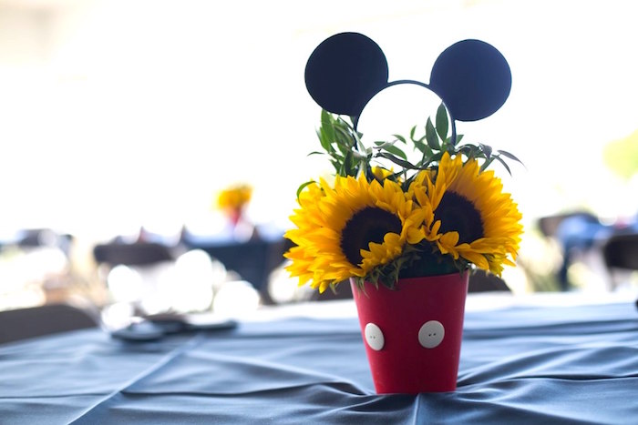 Mickey Mouse sunflower centerpiece from a Mickey Mouse Clubhouse Birthday Party on Kara's Party Ideas | KarasPartyIdeas.com (7)