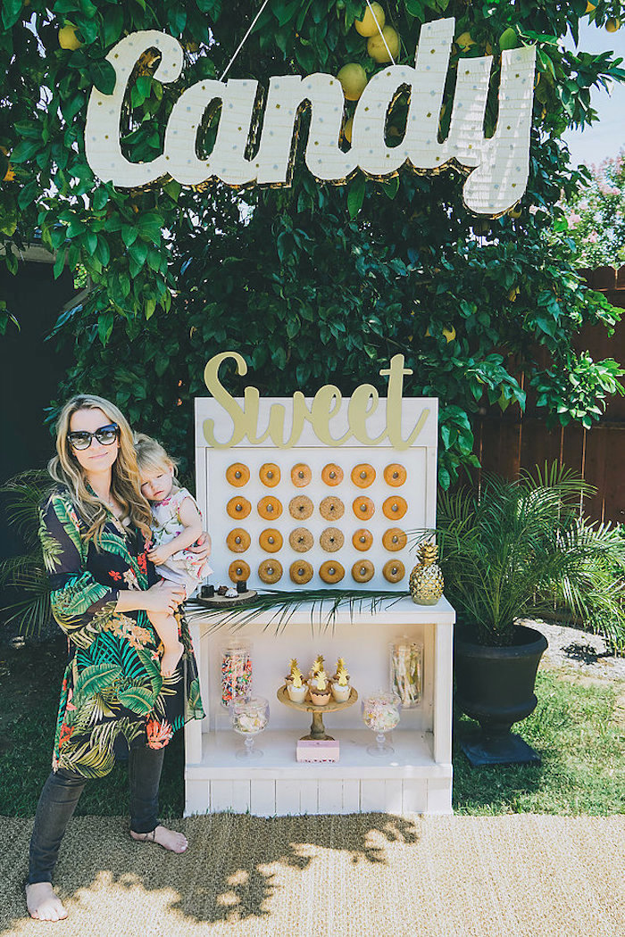 Dessert stand from a Modern Hawaiian Moana Birthday Party on Kara's Party Ideas | KarasPartyIdeas.com (10)