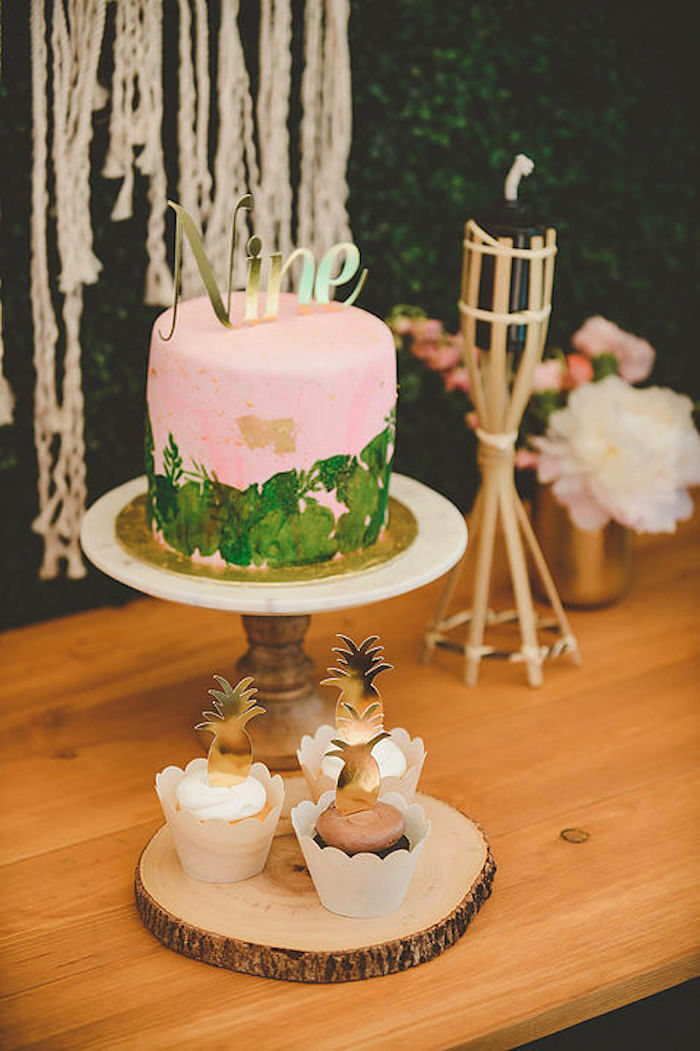 Cake and cupcakes from a Modern Hawaiian Moana Birthday Party on Kara's Party Ideas | KarasPartyIdeas.com (7)