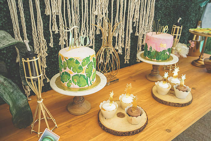 Dessert tablescape from a Modern Hawaiian Moana Birthday Party on Kara's Party Ideas | KarasPartyIdeas.com (5)