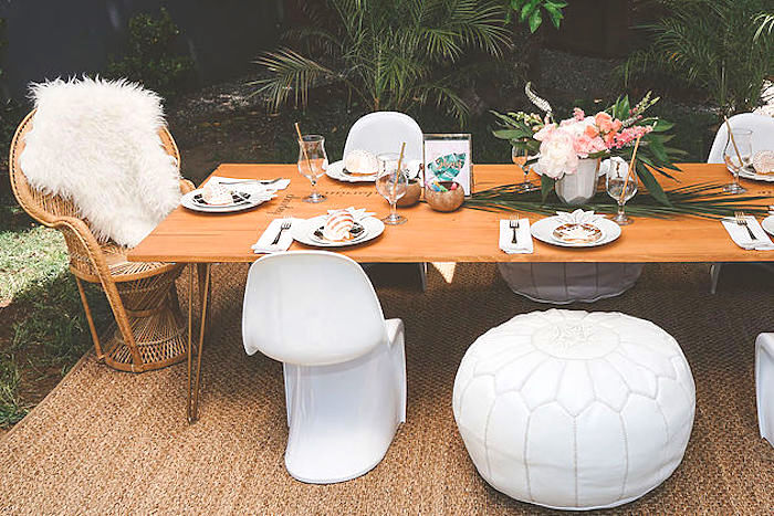 Guest table from a Modern Hawaiian Moana Birthday Party on Kara's Party Ideas | KarasPartyIdeas.com (19)