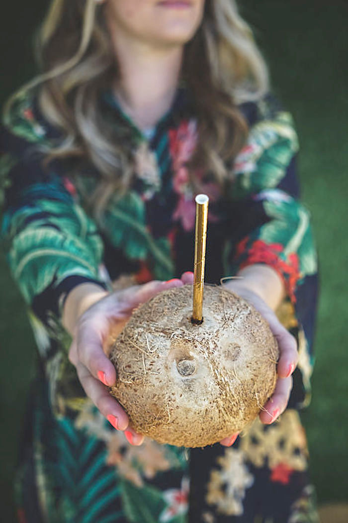 Coconut drink from a Modern Hawaiian Moana Birthday Party on Kara's Party Ideas | KarasPartyIdeas.com (18)