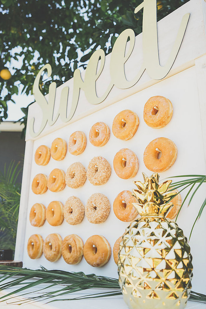 Donut board from a Modern Hawaiian Moana Birthday Party on Kara's Party Ideas | KarasPartyIdeas.com (17)
