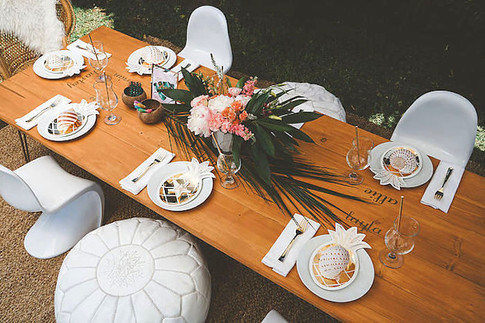 Guest tabletop from a Modern Hawaiian Moana Birthday Party on Kara's Party Ideas | KarasPartyIdeas.com (16)