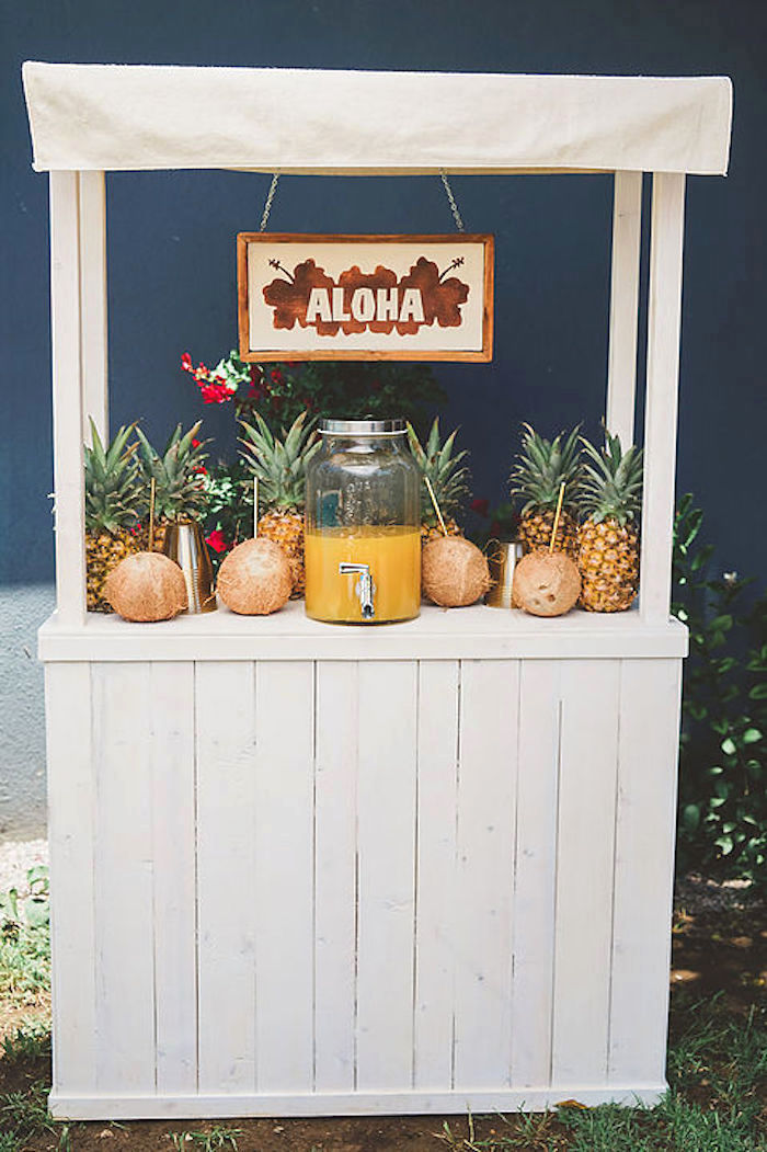 """Aloha"" beverage stand from a Modern Hawaiian Moana Birthday Party on Kara's Party Ideas 