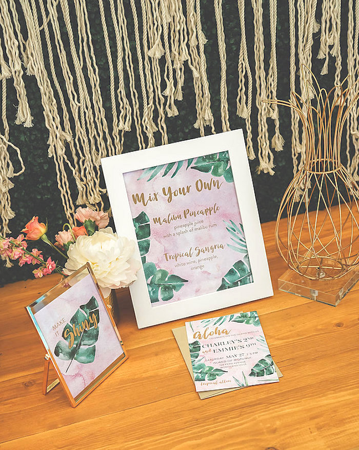 Palm leaf party signage from a Modern Hawaiian Moana Birthday Party on Kara's Party Ideas | KarasPartyIdeas.com (11)