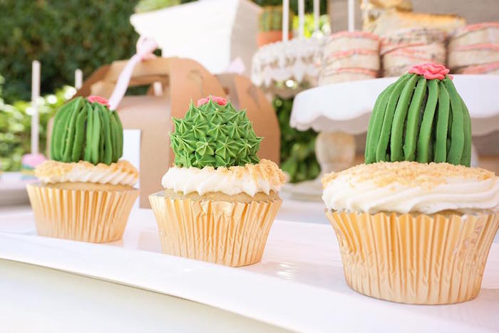 Cactus cupcakes from a Modern Mexican Fiesta on Kara's Party Ideas   KarasPartyIdeas.com (14)