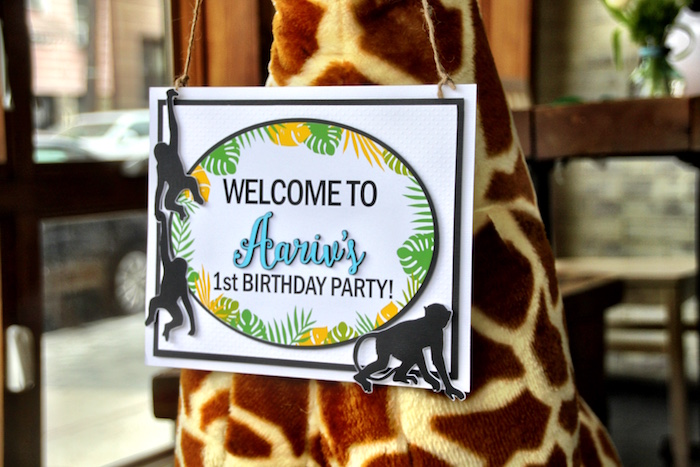 Welcome sign from a Modern Safari Panda Birthday Party on Kara's Party Ideas | KarasPartyIdeas.com (8)