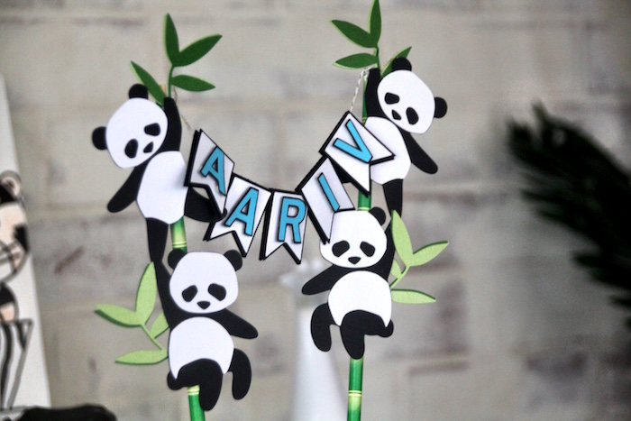 Panda cake banner + topper from a Modern Safari Panda Birthday Party on Kara's Party Ideas | KarasPartyIdeas.com (17)