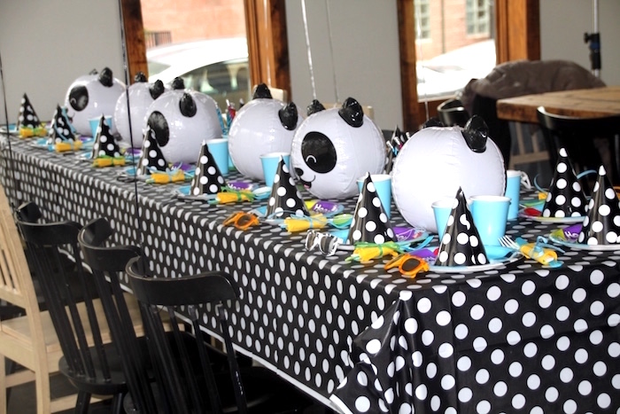 Panda Bear guest table from a Modern Safari Panda Birthday Party on Kara's Party Ideas | KarasPartyIdeas.com (11)