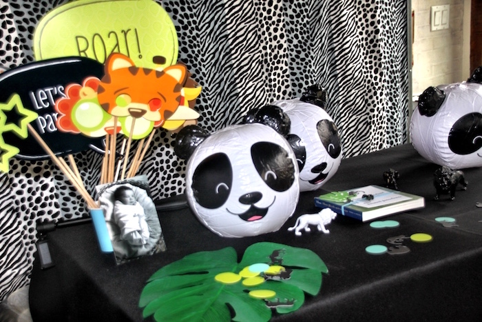 Photo booth props from a Modern Safari Panda Birthday Party on Kara's Party Ideas | KarasPartyIdeas.com (10)