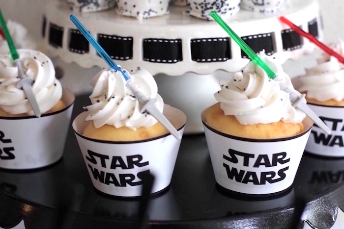 Star Wars Cupcakes from a Monochromatic Star Wars Birthday Party on Kara's Party Ideas | KarasPartyIdeas.com (20)