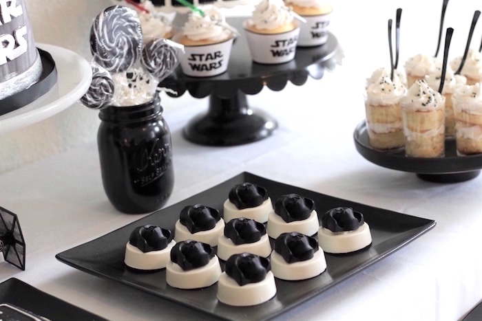 Star Wars sweets from a Monochromatic Star Wars Birthday Party on Kara's Party Ideas | KarasPartyIdeas.com (19)