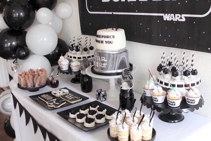Star Wars dessert table spread from a Monochromatic Star Wars Birthday Party on Kara's Party Ideas | KarasPartyIdeas.com (17)
