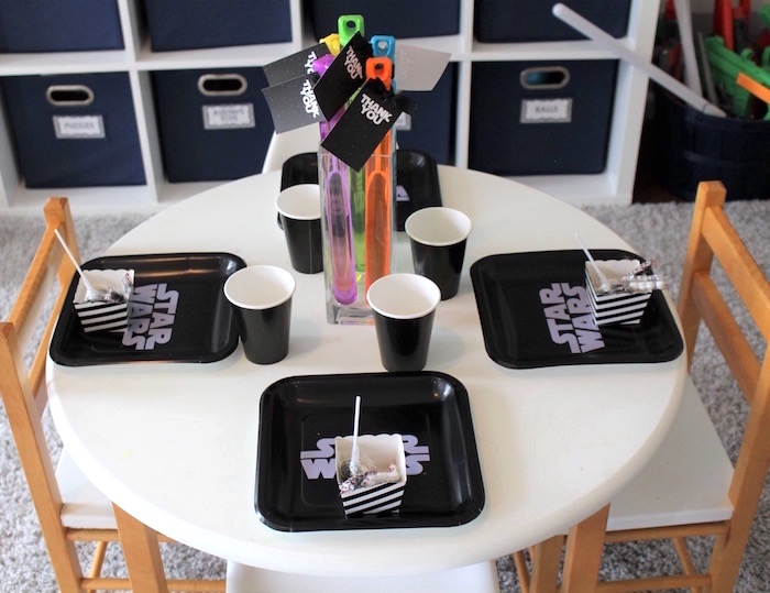 Guest table from a Monochromatic Star Wars Birthday Party on Kara's Party Ideas | KarasPartyIdeas.com (16)