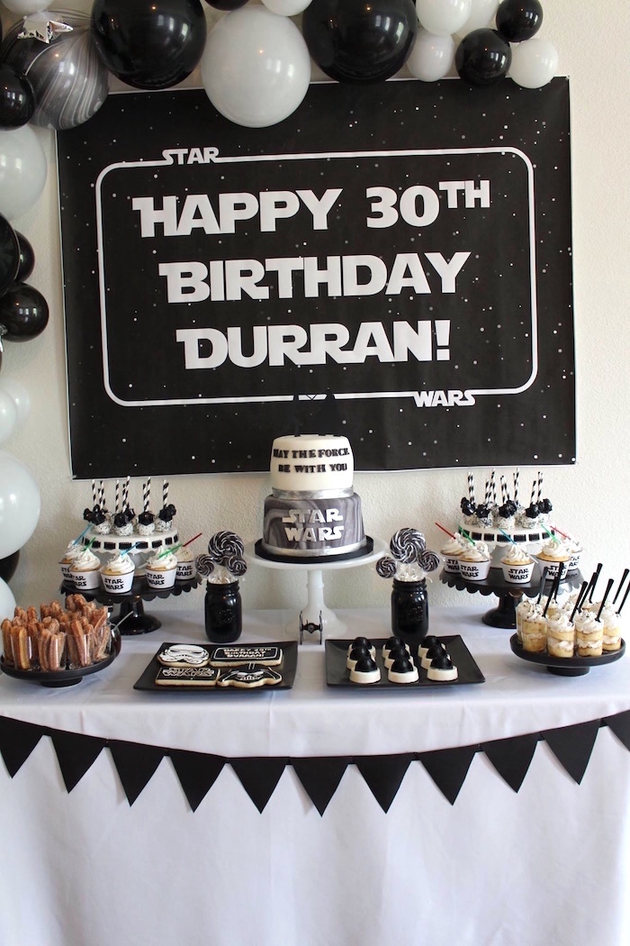 Star Wars Dessert Table from a Monochromatic Star Wars Birthday Party on Kara's Party Ideas | KarasPartyIdeas.com (10)