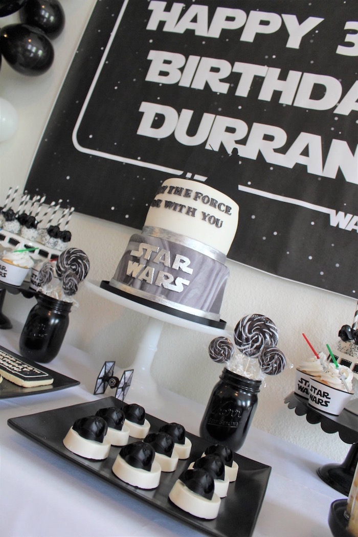 Cakescape from a Monochromatic Star Wars Birthday Party on Kara's Party Ideas | KarasPartyIdeas.com (8)