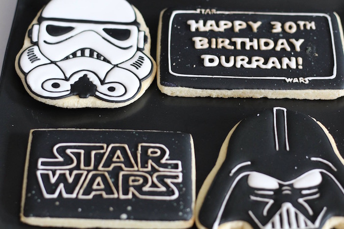 Star Wars Cookies from a Monochromatic Star Wars Birthday Party on Kara's Party Ideas | KarasPartyIdeas.com (27)