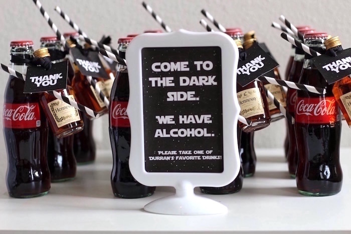 Drinks & party signage from a Monochromatic Star Wars Birthday Party on Kara's Party Ideas | KarasPartyIdeas.com (22)