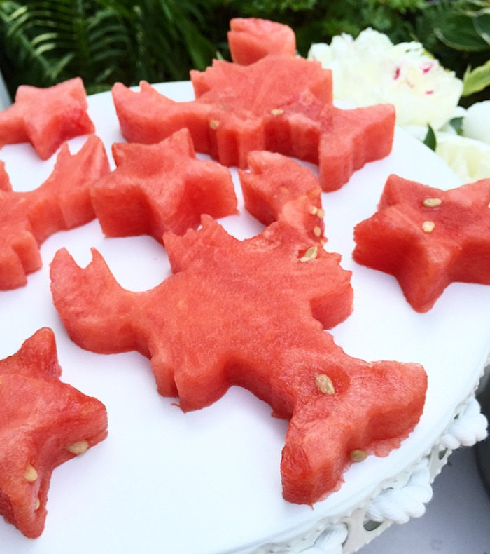 Cut-out watermelon lobsters and stars from a Nautical Lobster Summer Party on Kara's Party Ideas | KarasPartyIdeas.com (12)
