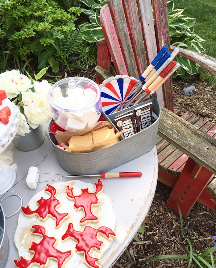 S'more table from a Nautical Lobster Summer Party on Kara's Party Ideas | KarasPartyIdeas.com (10)