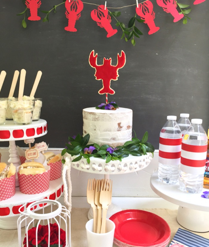 Lobster cakescape from a Nautical Lobster Summer Party on Kara's Party Ideas | KarasPartyIdeas.com (24)