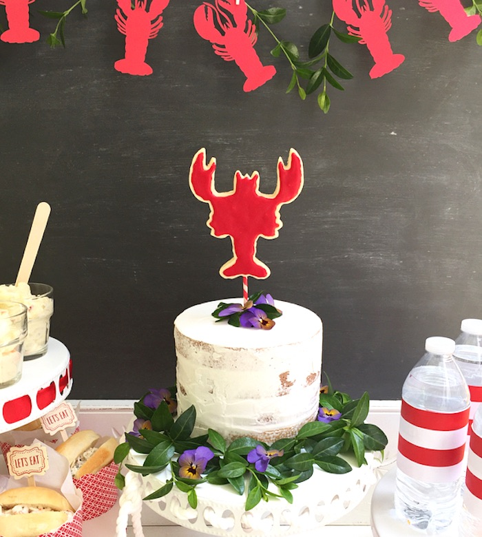 Lobster cake from a Nautical Lobster Summer Party on Kara's Party Ideas | KarasPartyIdeas.com (23)