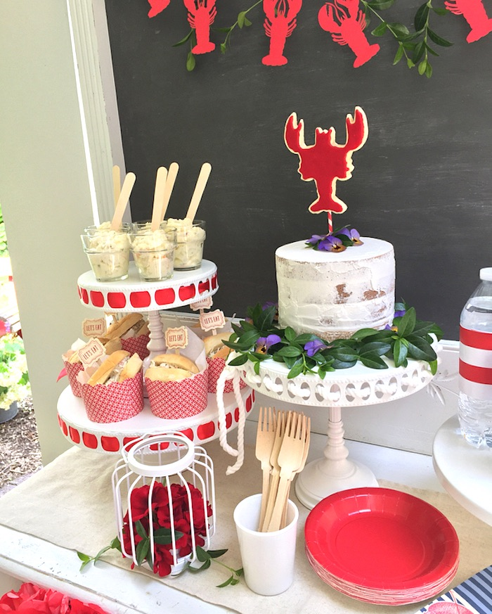 Lobster party table from a Nautical Lobster Summer Party on Kara's Party Ideas | KarasPartyIdeas.com (20)
