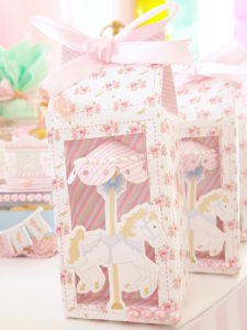 Carousel favor boxes from a Pastel Carousel Birthday Party on Kara's Party Ideas | KarasPartyIdeas.com (16)