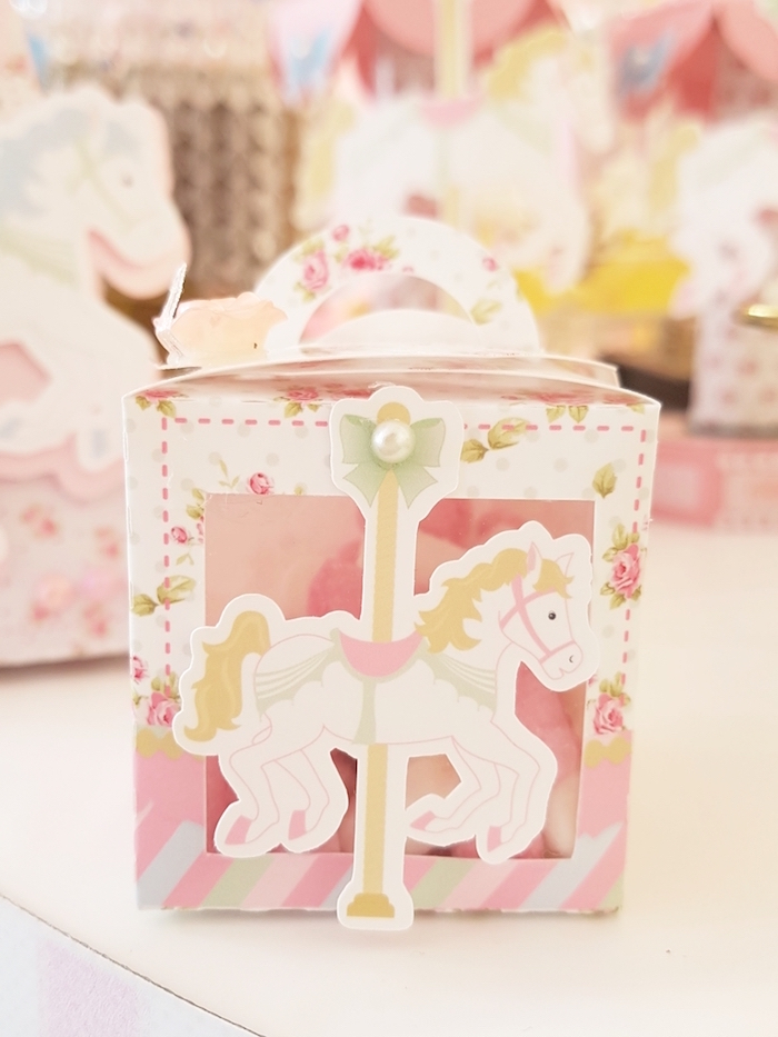 Carousel favor box from a Pastel Carousel Birthday Party on Kara's Party Ideas | KarasPartyIdeas.com (15)