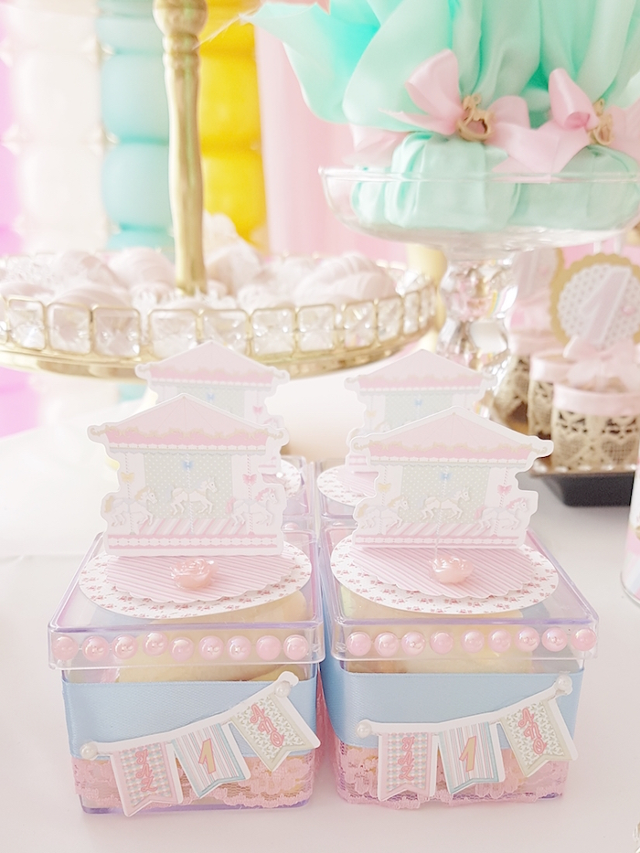 Mini plastic carousel favor boxes from a Pastel Carousel Birthday Party on Kara's Party Ideas | KarasPartyIdeas.com (14)