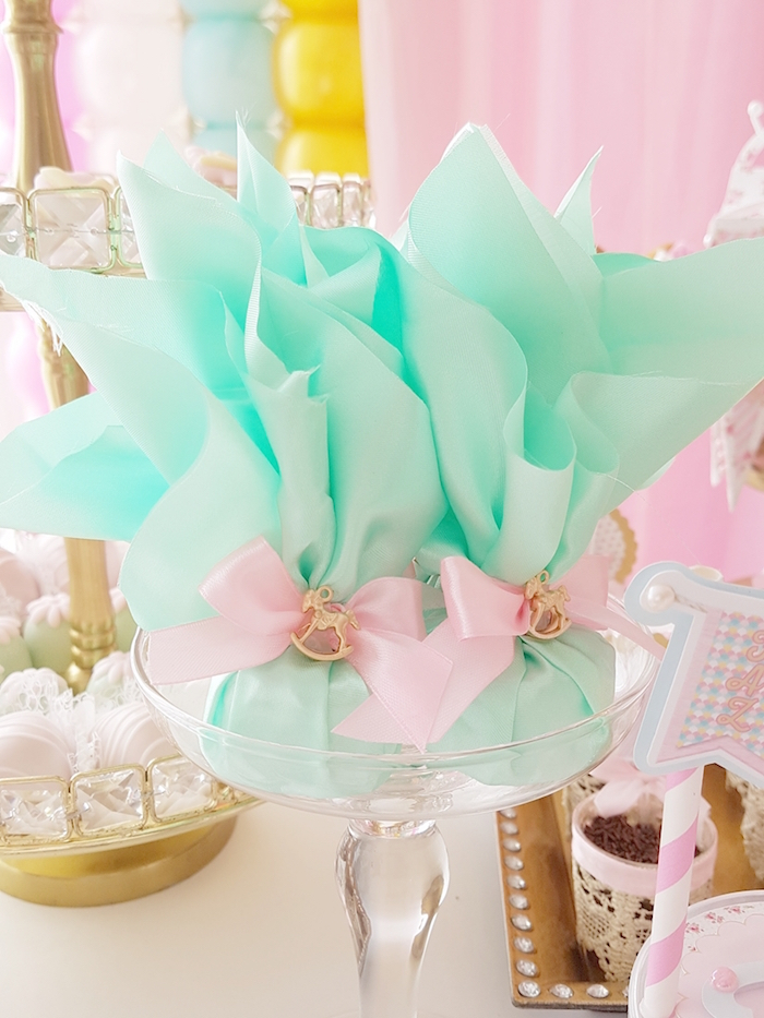 Favor pouches from a Pastel Carousel Birthday Party on Kara's Party Ideas | KarasPartyIdeas.com (13)