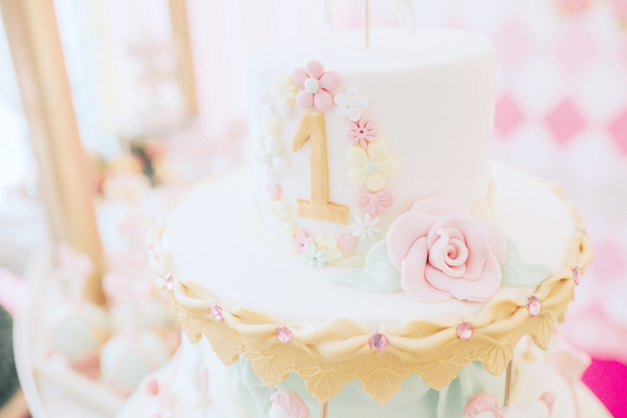 Floral top cake from a Pastel Carousel Birthday Party on Kara's Party Ideas | KarasPartyIdeas.com (7)