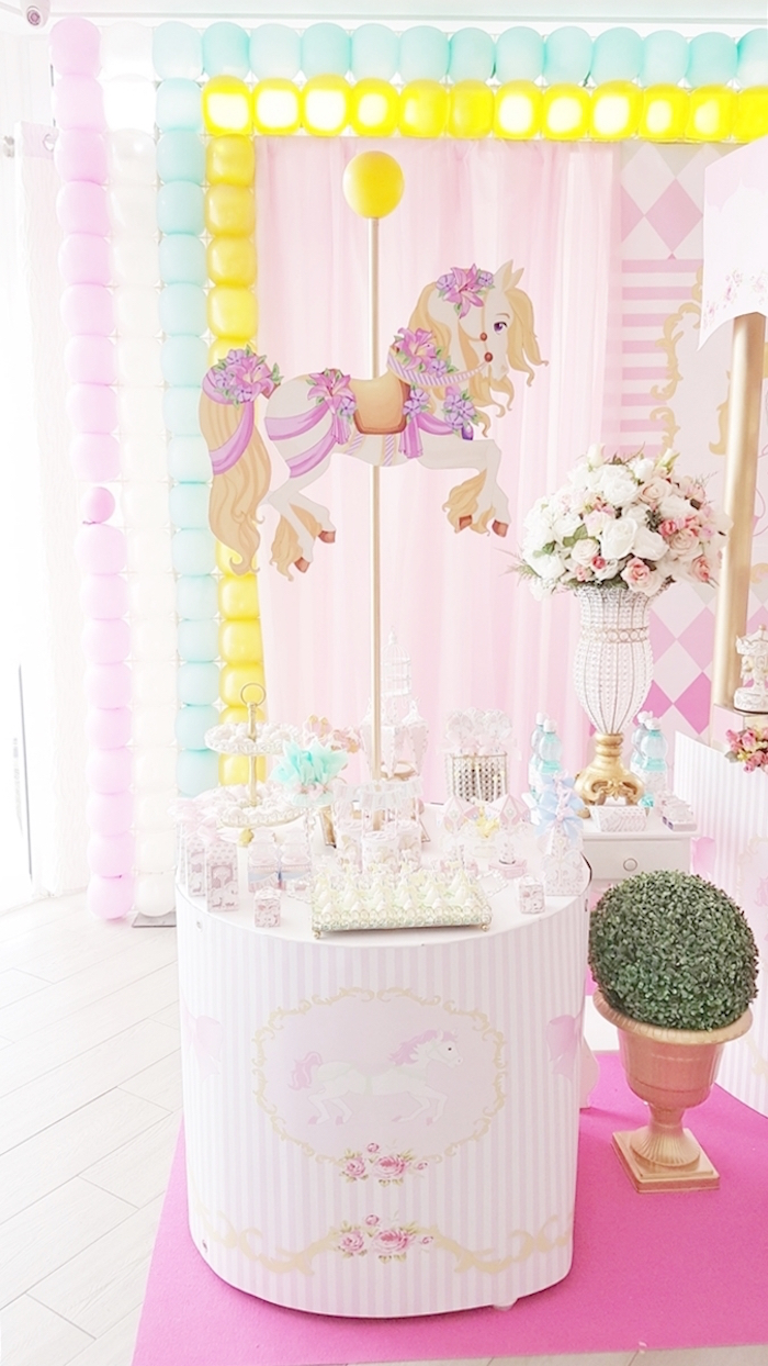 Carousel ponied dessert table from a Pastel Carousel Birthday Party on Kara's Party Ideas | KarasPartyIdeas.com (25)