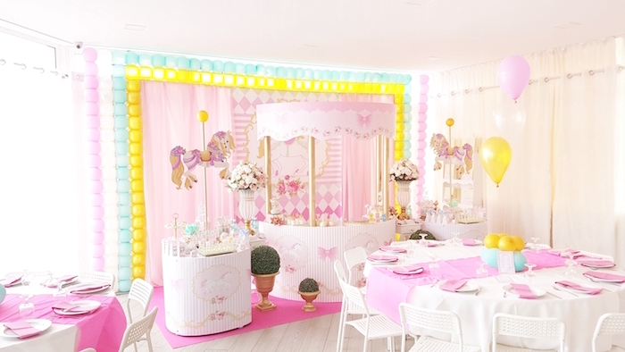 Full party spread from a Pastel Carousel Birthday Party on Kara's Party Ideas | KarasPartyIdeas.com (24)