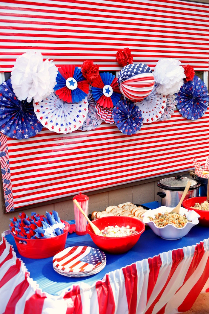 Patriotic food table from a Patriotic Red, White, and Blue Barbecue on Kara's Party Ideas | KarasPartyIdeas.com (11)