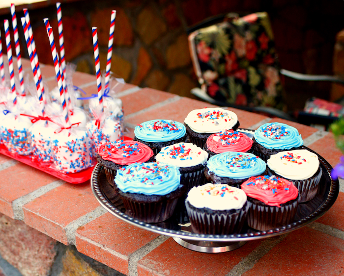 Patriotic Cupcakes from a Patriotic Red, White, and Blue Barbecue on Kara's Party Ideas   KarasPartyIdeas.com (7)