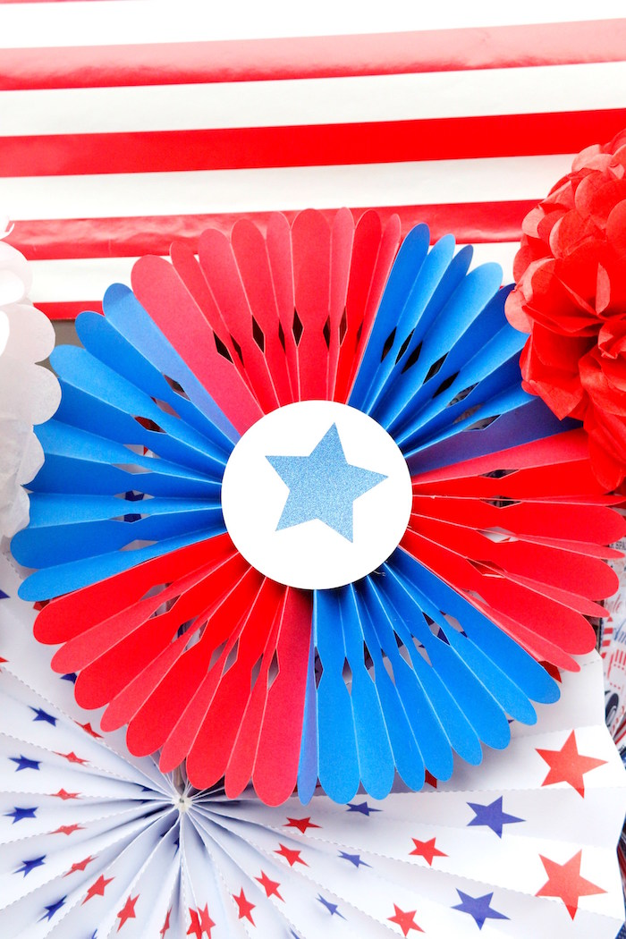 Patriotic rosette from a Patriotic Red, White, and Blue Barbecue on Kara's Party Ideas | KarasPartyIdeas.com (3)