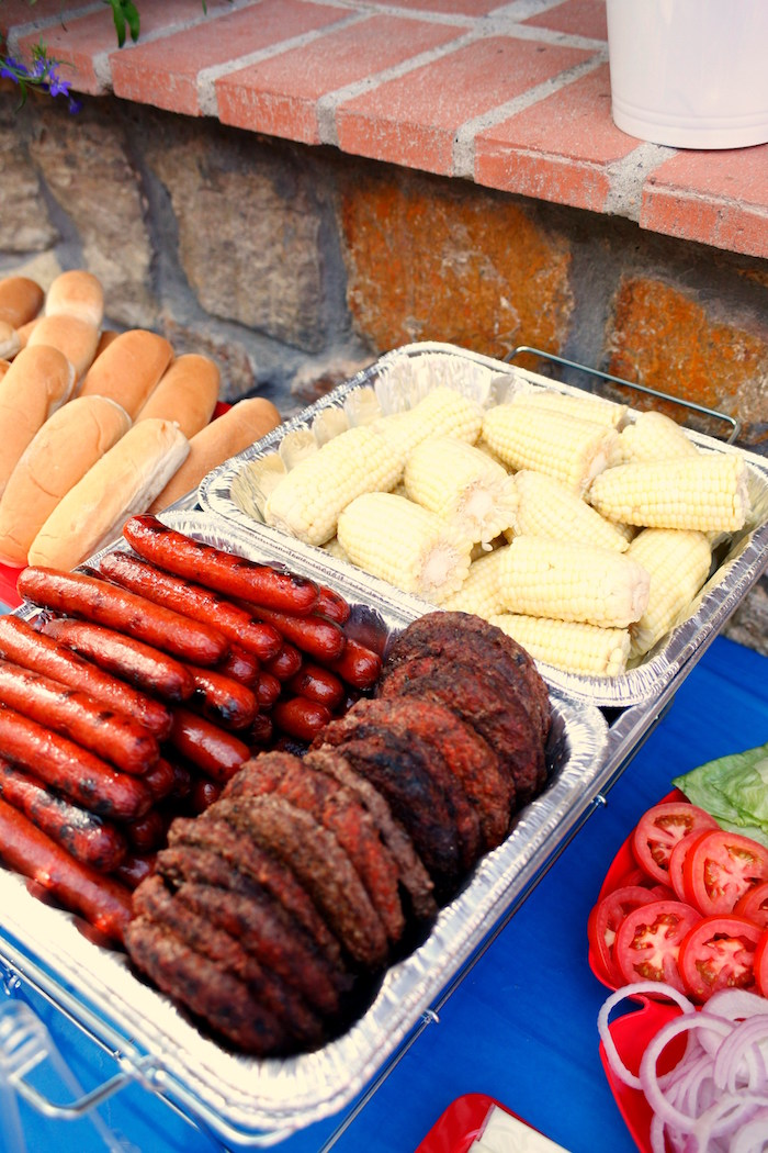 Meat and corn from a Patriotic Red, White, and Blue Barbecue on Kara's Party Ideas | KarasPartyIdeas.com (20)